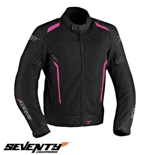 Geaca (jacheta) motociclete femei Touring vara Seventy model SD-JT36 culoare: negru/roz [0]