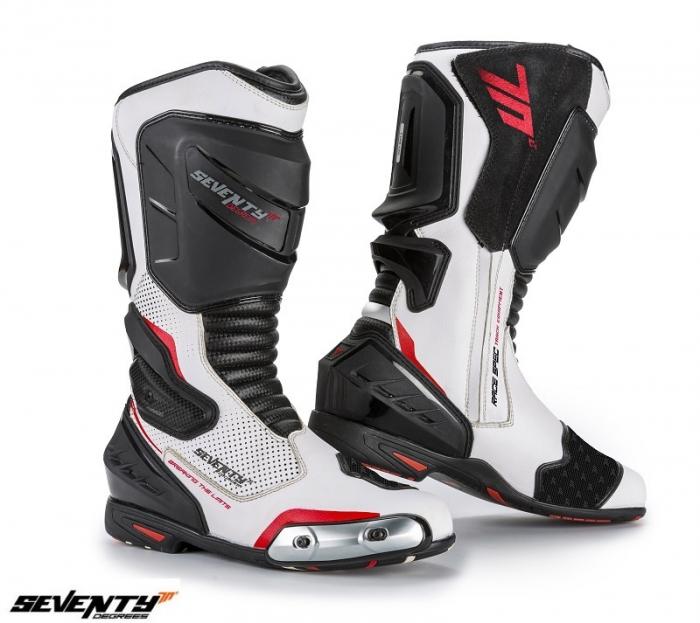 Ghete (cizme) moto Racing Unisex Seventy model SD-BR1 culoare: alb/rosu [0]