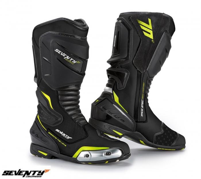 Ghete (cizme) moto Racing Unisex Seventy model SD-BR1 culoare: negru/galben fluor [0]