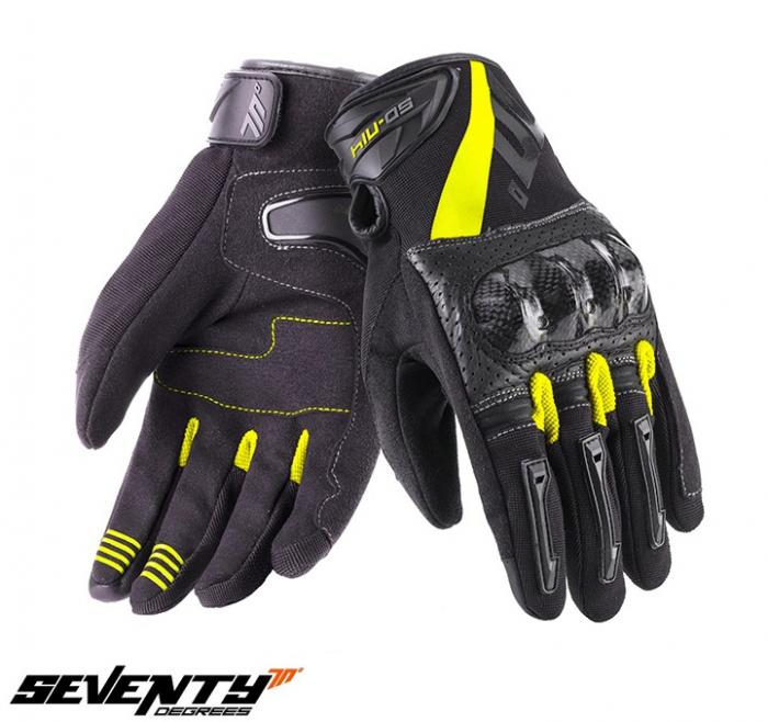 Manusi barbati Racing/Naked vara Seventy model SD-N14 negru/galben – degete tactile [0]