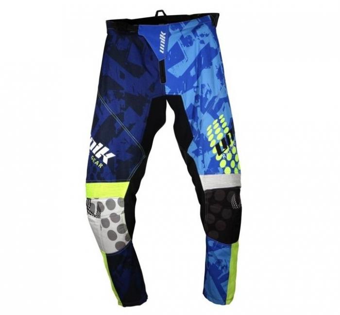 Pantaloni motociclete cross-enduro Unik Racing model MX01 culoare: albastru/verde fluor [1]
