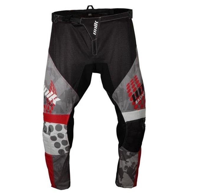 Pantaloni motociclete cross-enduro Unik Racing model MX01 culoare: negru/rosu [1]