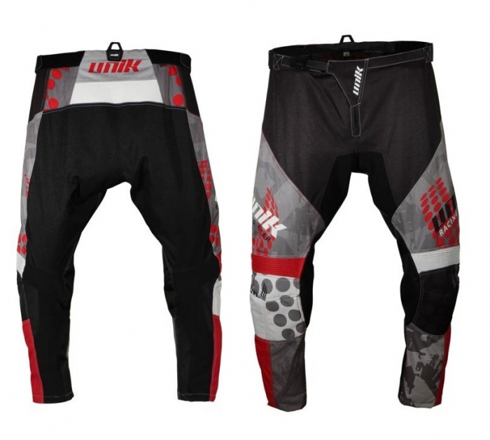 Pantaloni motociclete cross-enduro Unik Racing model MX01 culoare: negru/rosu [0]
