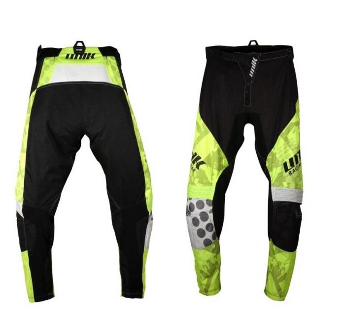 Pantaloni motociclete cross-enduro Unik Racing model MX01 culoare: negru/verde fluor [0]