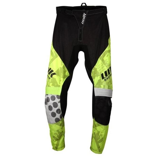 Pantaloni motociclete cross-enduro Unik Racing model MX01 culoare: negru/verde fluor [1]