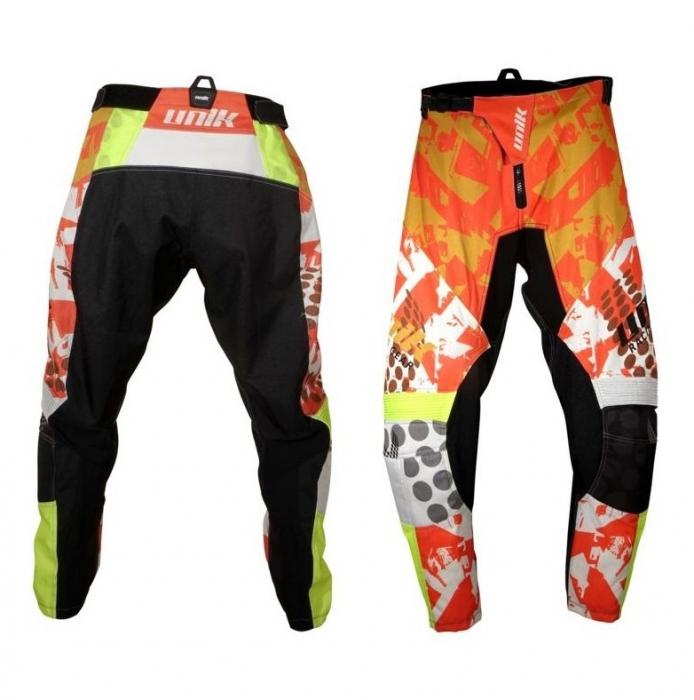 Pantaloni motociclete cross-enduro Unik Racing model MX01 culoare: portocaliu/verde fluor [0]