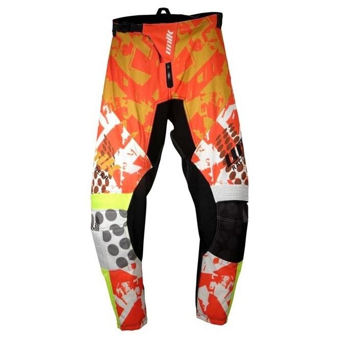 Pantaloni motociclete cross-enduro Unik Racing model MX01 culoare: portocaliu/verde fluor [1]