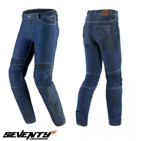 Blugi (jeans) moto barbati Seventy model SD-PJ6 tip Slim fit culoare: albastru (insertii Aramid Kevlar) [0]