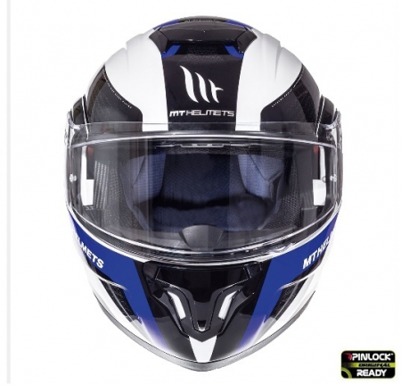 Casca integrala modulabila motociclete MT Atom SV Tarmac alb/albastru/negru lucios Pinlock ready [1]