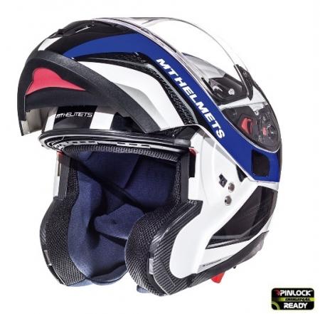 Casca integrala modulabila motociclete MT Atom SV Tarmac alb/albastru/negru lucios Pinlock ready [3]