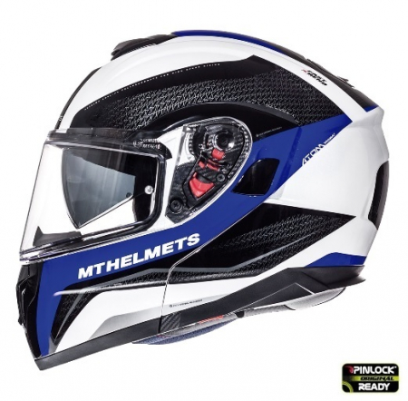 Casca integrala modulabila motociclete MT Atom SV Tarmac alb/albastru/negru lucios Pinlock ready [0]