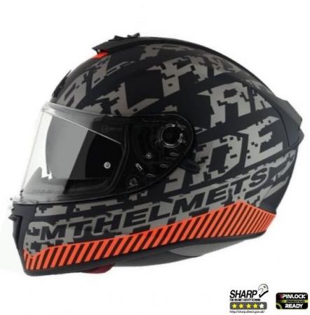 Casca integrala motociclete MT Blade 2 SV Check B2 gri/portocaliu mat (ochelari soare integrati) [0]