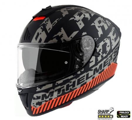 Casca integrala motociclete MT Blade 2 SV Check B2 gri/portocaliu mat (ochelari soare integrati) [1]