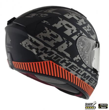 Casca integrala motociclete MT Blade 2 SV Check B2 gri/portocaliu mat (ochelari soare integrati) [2]