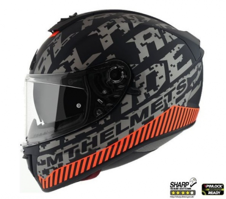 Casca integrala motociclete MT Blade 2 SV Check B2 gri/portocaliu mat (ochelari soare integrati) [3]
