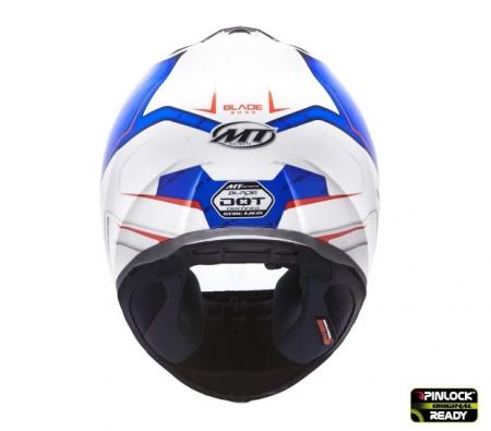 Casca integrala motociclete MT Blade SV Boss alb/albastru lucios (ochelari soare integrati) [2]