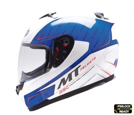 Casca integrala motociclete MT Blade SV Boss alb/albastru lucios (ochelari soare integrati) [0]