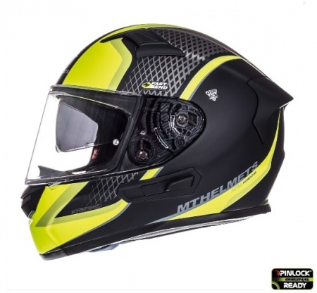 Casca integrala motociclete MT KRE SV Momentum negru/titanium/galben fluor mat (fibra sticla) – cu ochelari soare integrati [0]