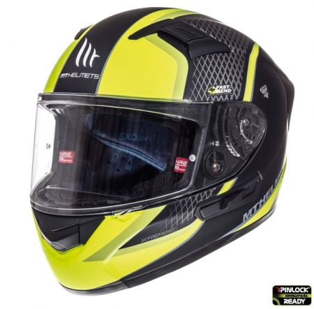 Casca integrala motociclete MT KRE SV Momentum negru/titanium/galben fluor mat (fibra sticla) – cu ochelari soare integrati [3]