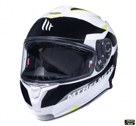 Casca integrala motociclete MT Targo Enjoy D3 galben fluor/alb/negru lucios [1]