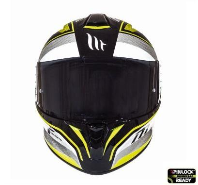 Casca integrala motociclete MT Targo Interact A4 galben fluor/alb/negru lucios [2]