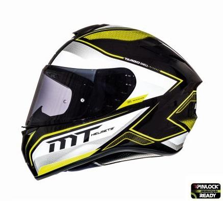 Casca integrala motociclete MT Targo Interact A4 galben fluor/alb/negru lucios [0]