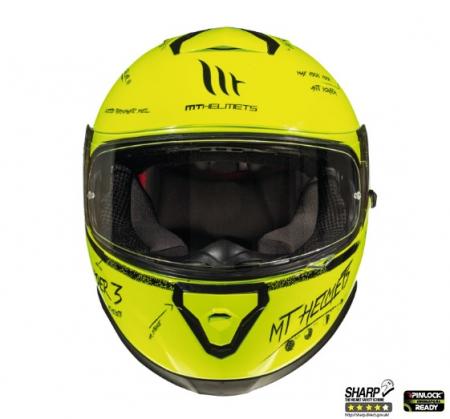 Casca integrala motociclete MT Thunder III SV Board A0 galben fluor lucios (ochelari soare integrati) [2]