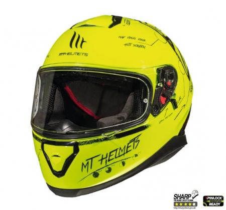 Casca integrala motociclete MT Thunder III SV Board A0 galben fluor lucios (ochelari soare integrati) [1]