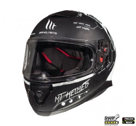 Casca integrala motociclete MT Thunder III SV Board negru/alb mat (ochelari soare integrati) [1]