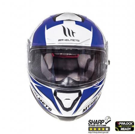 Casca integrala motociclete MT Thunder III SV Effect alb/albastru lucios (ochelari soare integrati) [2]