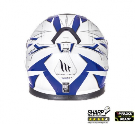 Casca integrala motociclete MT Thunder III SV Effect alb/albastru lucios (ochelari soare integrati) [3]