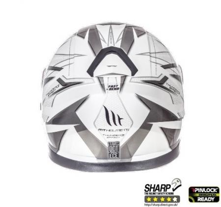 Casca integrala motociclete MT Thunder III SV Effect alb/argintiu antracit lucios (ochelari soare integrati) [3]