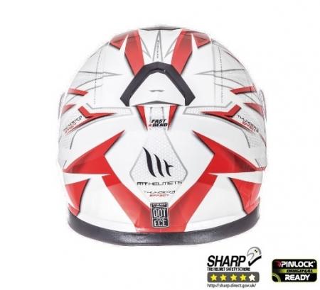 Casca integrala motociclete MT Thunder III SV Effect alb/rosu lucios (ochelari soare integrati) [3]