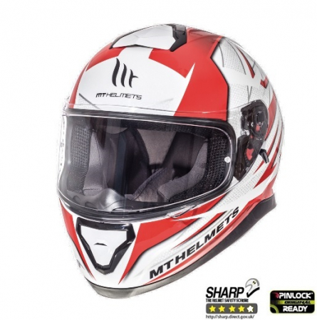 Casca integrala motociclete MT Thunder III SV Effect alb/rosu lucios (ochelari soare integrati) [1]