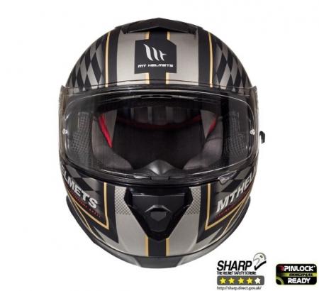 Casca integrala motociclete MT Thunder III SV Isle of Man negru/auriu mat (ochelari soare integrati) [2]