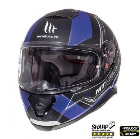 Casca integrala motociclete MT Thunder III SV Trace negru/albastru mat (ochelari soare integrati) [1]