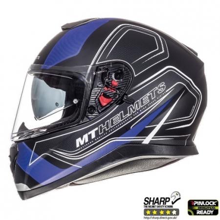 Casca integrala motociclete MT Thunder III SV Trace negru/albastru mat (ochelari soare integrati) [0]