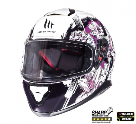 Casca integrala motociclete MT Thunder III SV Wild Garden alb/mov lucios(ochelari soare integrati) [1]