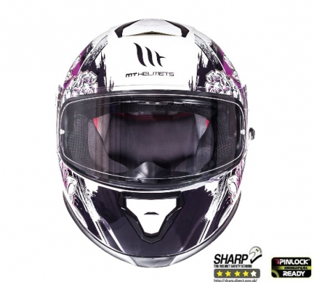 Casca integrala motociclete MT Thunder III SV Wild Garden alb/mov lucios(ochelari soare integrati) [2]