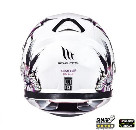 Casca integrala motociclete MT Thunder III SV Wild Garden alb/mov lucios(ochelari soare integrati) [3]