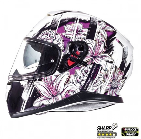 Casca integrala motociclete MT Thunder III SV Wild Garden alb/mov lucios(ochelari soare integrati) [0]