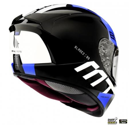 Casca integrala MT Blade 2 SV 89 B7 albastru lucios (ochelari soare integrati) [2]