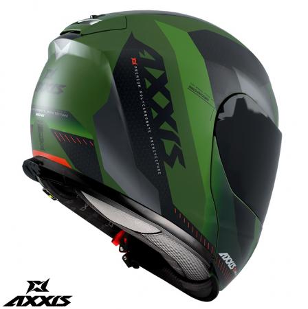 Casca modulabila Axxis model Gecko SV Shield F6 gri verde mat (ochelari soare integrati) [1]