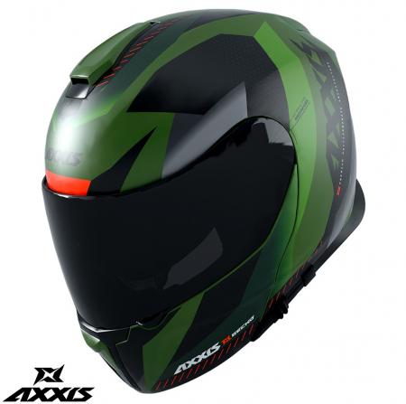 Casca modulabila Axxis model Gecko SV Shield F6 gri verde mat (ochelari soare integrati) [0]