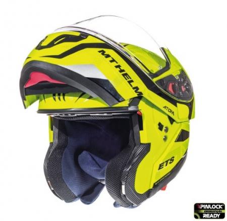 Casca modulabila motociclete MT Atom SV Divergence F1 galben fluor lucios Pinlock ready (viziera tip MT-V-16) [1]