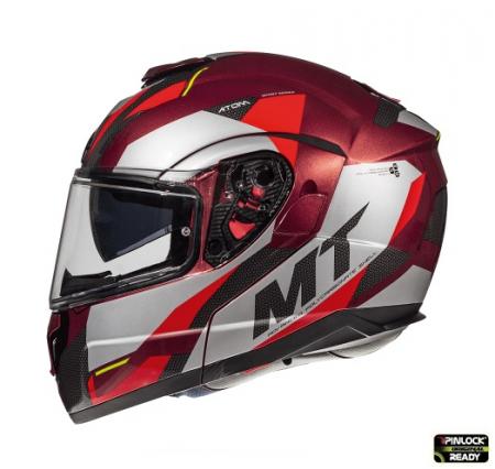 Casca modulabila motociclete MT Atom SV Transcend F5 rosu/gri lucios Pinlock ready [0]