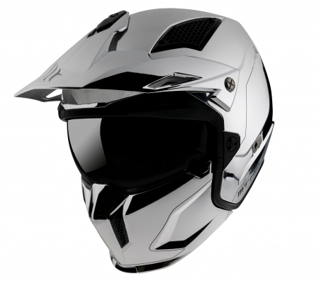 Casca MT Streetfighter SV A2 argintiu cromat lucios (ochelari soare integrati) – masca (protectie) barbie si cozoroc detasabile – editie speciala [1]
