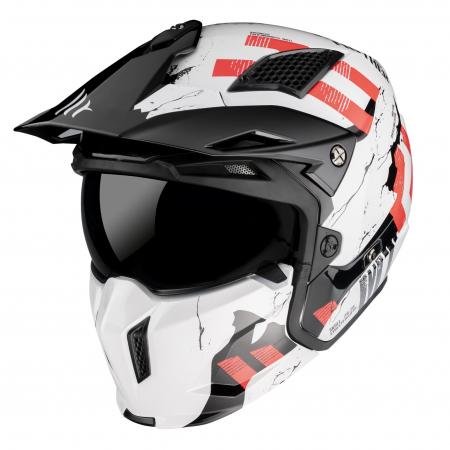 Casca MT Streetfighter SV Skull2020 A0 alb lucios (ochelari soare integrati) – masca (protectie) barbie si cozoroc detasabile [1]
