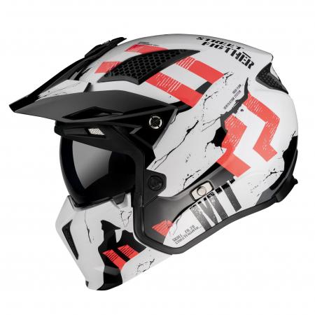 Casca MT Streetfighter SV Skull2020 A0 alb lucios (ochelari soare integrati) – masca (protectie) barbie si cozoroc detasabile [0]