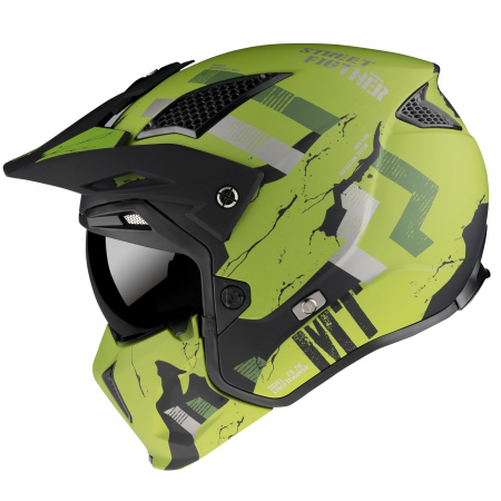 Casca MT Streetfighter SV Skull2020 A16 verde mat (ochelari soare integrati) – masca (protectie) barbie si cozoroc detasabile [0]